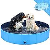 GoStock Hundepool Schwimmbecken Faltbarer Hund Planschbecken Swimmingpool Kinderpool Hundebadewanne Doggy Pool für Großes Haustier Hund Katze Kinder PVC rutschfest (Bonus Haustier Badebürste) 48'x12'