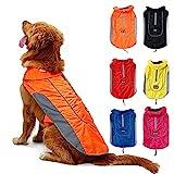 TFENG Reflektierend Hundejacke für Hunde, Wasserdicht Hundemantel Warm gepolstert Puffer Weste Welpen Regenmantel mit Fleece (Größe S, Orange)
