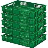 5 x Eurobehälter/Bäckerkisten, LxBxH 600x400x90 mm, Inhalt 15 Liter, grün