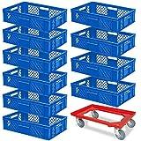 10 Stapelkörbe, Euro-Format LxBxH 600 x 400 x 150 mm, Industriequalität, lebensmittelecht, blau + GRATIS Transportroller